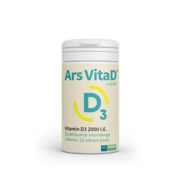 Ars VitaD 2000 IE okus hruške, 120 žvečljivih tablet