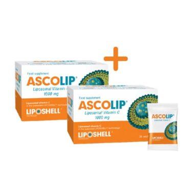 Ascolip liposomski vitamin C 1.000 mg, 2x30 vrečk 1+1 GRATIS