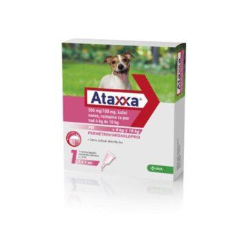 Ataxxa 500 mg-100 mg, kožni nanos, raztopina za pse nad 4 kg do 10 kg