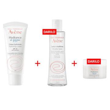 Avene Hydrance UV Riche paket, 40 ml + 100 ml + 7 ml