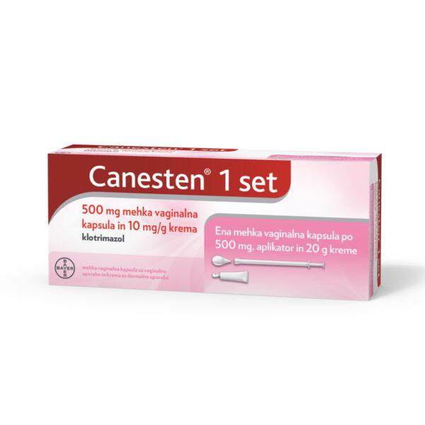 Canesten 1 set, 500 mg mehke vaginalne kapsule in 10 mg-g krema