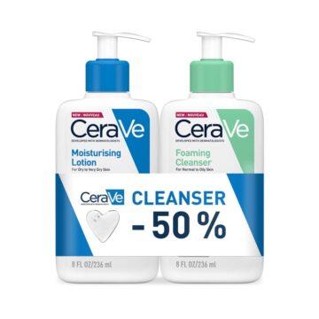 CeraVe paket vlažilni losjon + čistilni gel, 2 x 236 ml