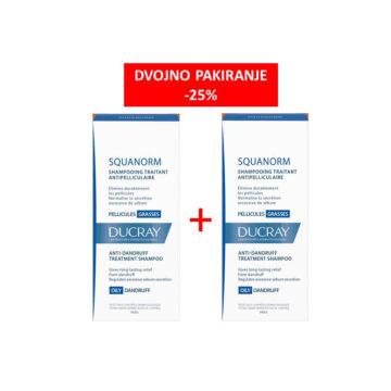 Ducray Squanorm šampon proti mastnemu prhljaju AKCIJA -25%, 2 x 200 ml