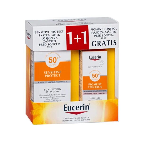 Eucerin Sun paket pigmentni madeži ZF50+, (150 ml + 50 ml)