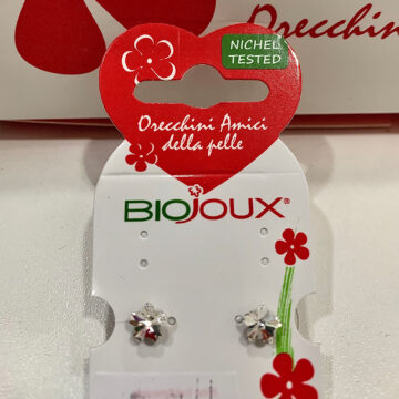 Biojoux medicinski uhani kristal rožica