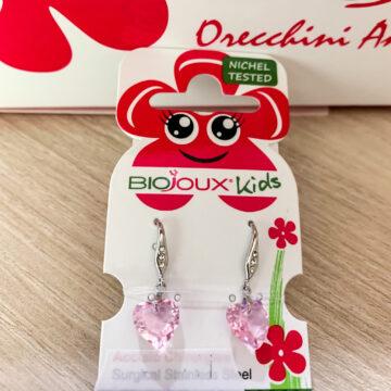 Biojoux Kids medicinski uhani viseči srček