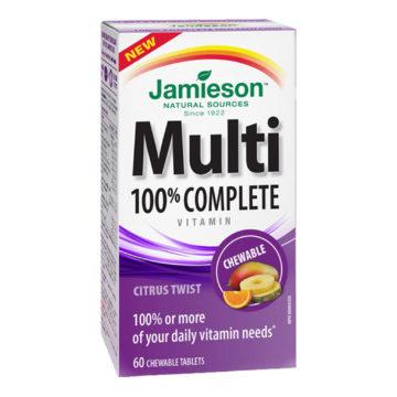 Jamieson Multi 100% Complete multivitamini in minerali za odrasle, 60 žvečljivih bonbonov