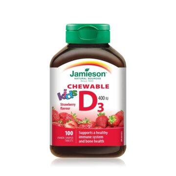 Jamieson Vitamin D3 400 IE bonboni za otroke z okusom jagode, 100 bonbonov