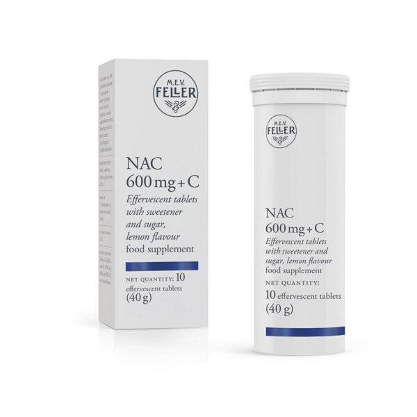 M.E.V. Feller NAC 600 mg + C, 10 šumečih tablet