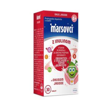 Marsovci žvečljive tablete s prebiotiki z okusom jagode, 30 tablet