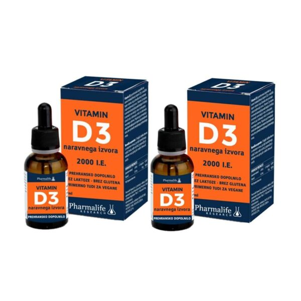 Pharmalife vitamin D3 2000 I.E. AKCIJSKO PAKIRANJE, 2 x 30 ml