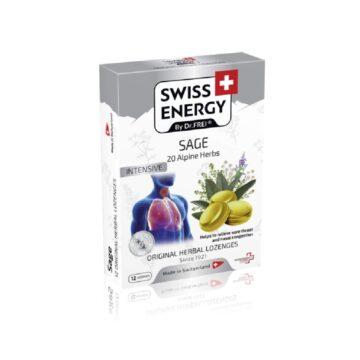 Swiss Energy 20 zelišč in žajbelj pastile za grlo, 12 pastil