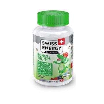 Swiss Energy Krokodilčki za močne kosti in zobe za otroke, 60 bonbonov