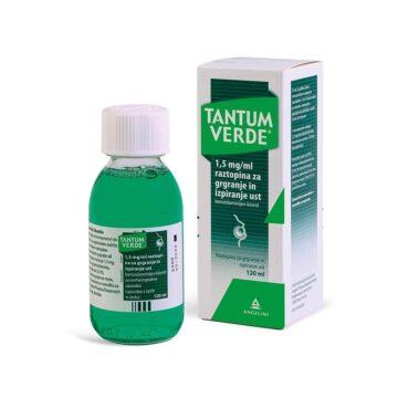 Tantum Verde 1,5 mgml raztopina za grgranje in izpiranje ust 120 ml