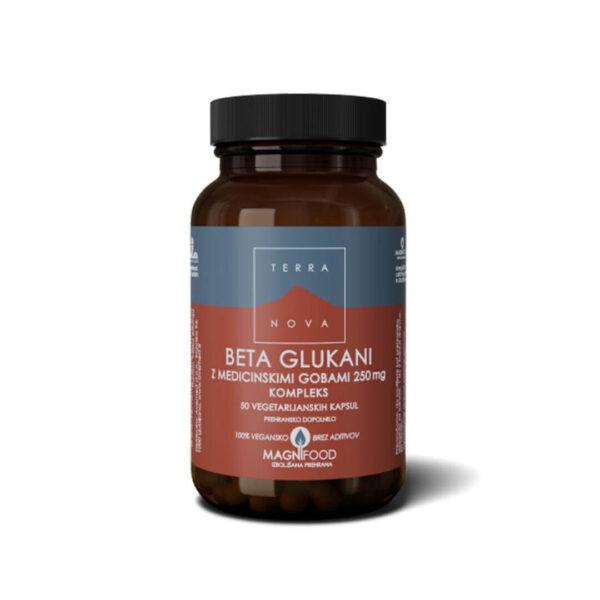 Terranova Beta glukani z medicinskimi gobami 250 mg kompleks, 50 kapsul