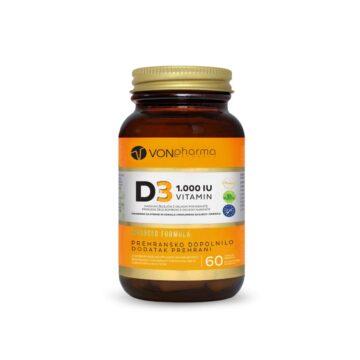 Vonpharma Vitamin D3 1.000 I.E. želejčki z okusom pomaranče, 60 želejčkov