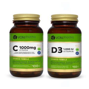 Vonpharma akcijski paket Vitamin C 1000 mg + Vitamin D3 1.000 I.E, 100 + 150 tablet