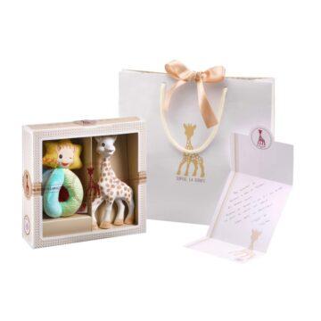 Žirafa Sophie in ropotulja iz blaga darilni set, 1 set