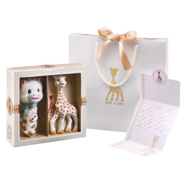 Žirafa Sophie s stiskačem darilni set, 1 set