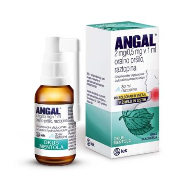 Angal 2 mg na 0,5 mg v 1 ml oralno pršilo z okusom mentola, 30 ml