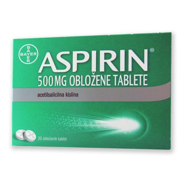 Aspirin 500 mg obložene tablete, 20 tablet