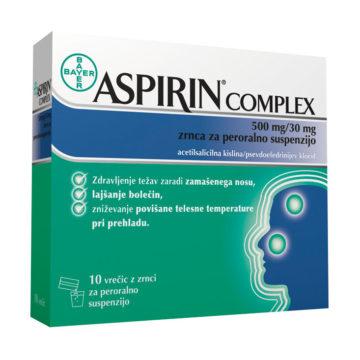 Aspirin Complex zrnca za peroralno suspenzijo (500 na 30 mg), 10 vrečk