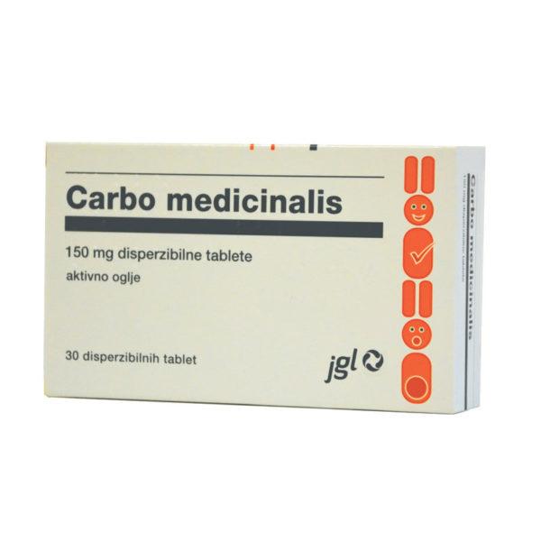 Carbo medicinalis aktivno oglje 150 mg, 30 tablet