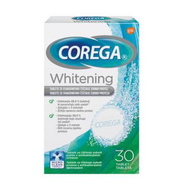 Corega Whitening tablete za beljenje in čiščenje proteze, 30 tablet