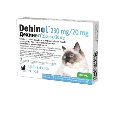 Dehinel tablete za mačke proti glistam in trakuljam, 2 tableti