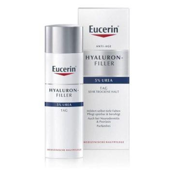 Eucerin Hyaluron-Filler Urea dnevna krema za suho kožo proti gubam, 50 ml