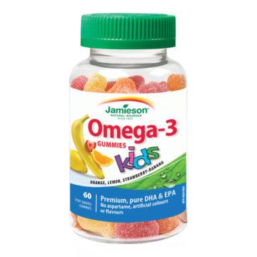 Jamieson Omega-3 želejčki za otroke z okusom tropsko sadje, 60 žvečljivih želejčkov