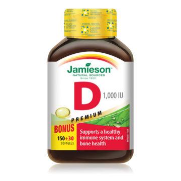 Jamieson vitamin D 1000 IE, 180 kapsul