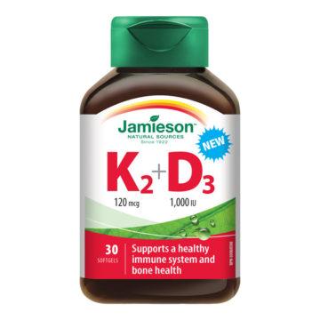 Jamieson Vitamin K2 + Vitamin D3, 30 kapsul
