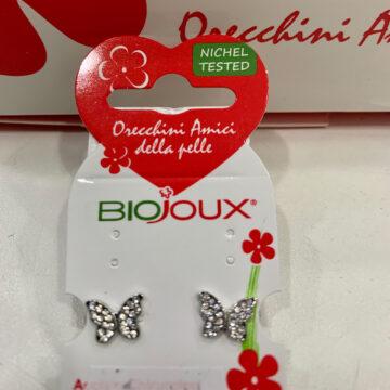 Biojoux medicinski uhani metuljček s kristali