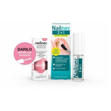Nailner Brush 2 v 1 lak proti glivicam na nohtih + barvni lak Soft Pink, 5 ml + 8 ml