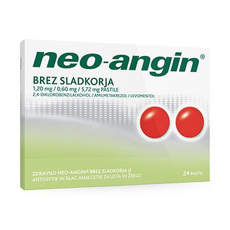 Neo-angin pastile brez sladkorja 1,20 mg na 0,60 mg na 5,72 mg, 24 pastil