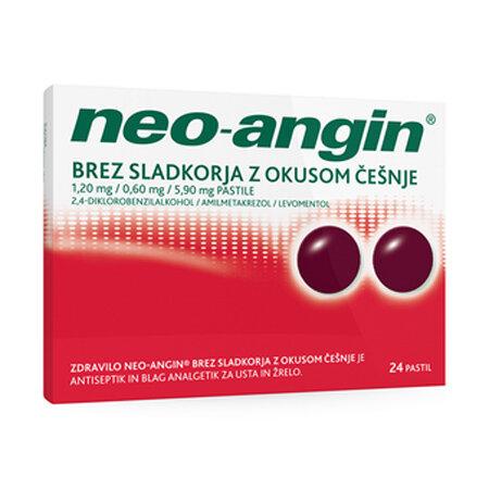 Neo-angin pastile brez sladkorja z okusom češnje 1,20 mg na 0,60 mg na 5,90 mg, 24 pastil