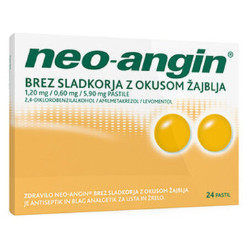Neo-angin pastile brez sladkorja z okusom žajblja 1,20 mg na 0,60 mg na 5,90 mg, 24 pastil