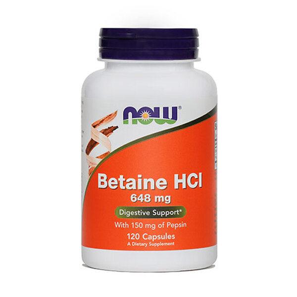 Now Betaine HCL kapsule, 120 kapsul