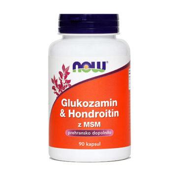 Now Glukozamin & Hondrotoin z MSM kapsule, 90 kapsul