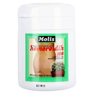 Robčki za higieno pri hemoroidih Molis, 100 robčkov
