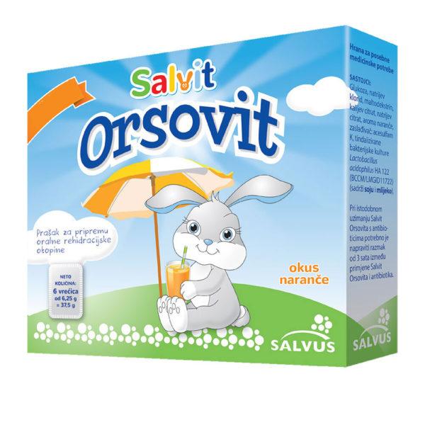 Salvit Orsovit prašek z okusom pomaranče, 6 vrečk