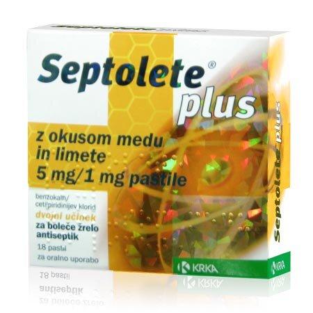 Septolete Plus pastile z okusom medu in limete, 18 pastil