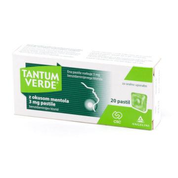 Tantum Verde z okusom mentola 3 mg pastile, 20 pastil