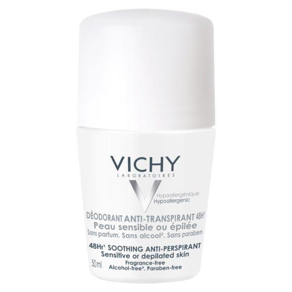 Vichy deodorant antitranspirant 48h roll-on za občutljivo in depilirano kožo, 50 ml