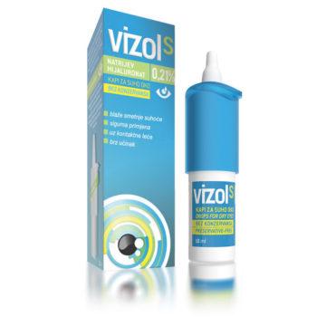 Vizol S 0,21� kapljice za blaženje lažjih težav s suhostjo oči, 10 ml